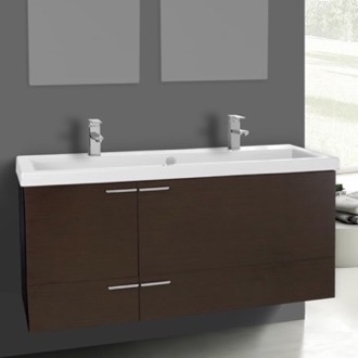 47 Inch Wenge Bathroom Vanity Set, Double Sink ACF ANS1105