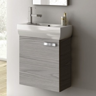18 Inch Vanity Cabinet With Fitted Sink ACF C13-Grey Walnut