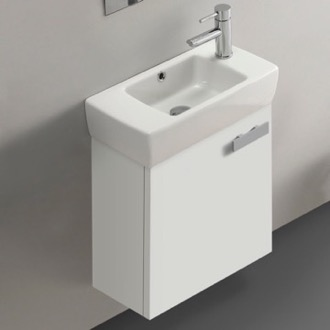 19 Inch Glossy White Wall Mount Bathroom Vanity with Fitted Ceramic Sink ACF C137