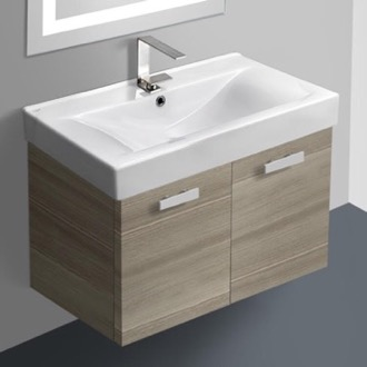 32 Inch Larch Canapa Wall Mount Bathroom Vanity with Fitted Ceramic Sink ACF C148