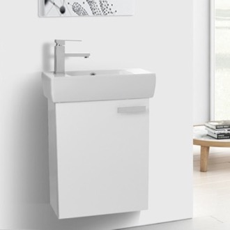 Bathroom Vanity 19 Inch Glossy White Wall Mount Bathroom Vanity with Fitted Ceramic Sink ACF C133V