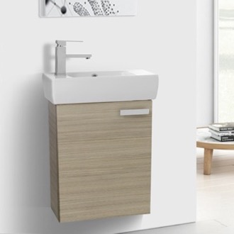 Bathroom Vanity 19 Inch Space Saving Larch Canapa Bathroom Vanity with Ceramic Sink, Wall Mounted ACF C136