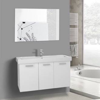 39 Inch Glossy White Wall Mount Bathroom Vanity with Fitted Ceramic Sink, Mirror Included ACF C625