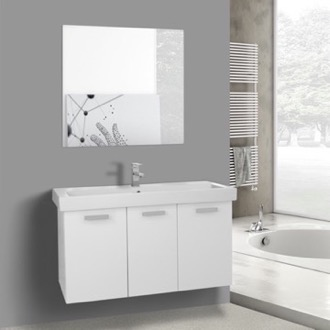 39 Inch Glossy White Wall Mount Bathroom Vanity with Fitted Ceramic Sink, Mirror Included ACF C626