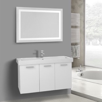 39 Inch Glossy White Wall Mount Bathroom Vanity with Fitted Ceramic Sink, Lighted Mirror Included ACF C628