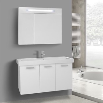 39 Inch Glossy White Wall Mount Bathroom Vanity with Fitted Ceramic Sink, Lighted Medicine Cabinet Included ACF C979