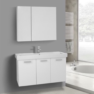 39 Inch Glossy White Wall Mount Bathroom Vanity with Fitted Ceramic Sink, Medicine Cabinet Included ACF C980