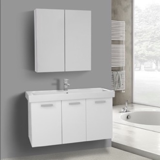 39 Inch Glossy White Wall Mount Bathroom Vanity with Fitted Ceramic Sink, Medicine Cabinet Included ACF C981