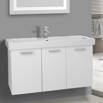 39 Inch Glossy White Wall Mount Bathroom Vanity with Fitted Ceramic Sink ACF C517