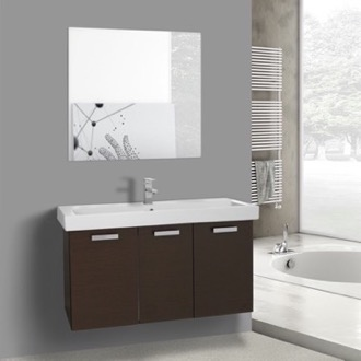 39 Inch Wenge Wall Mount Bathroom Vanity with Fitted Ceramic Sink, Mirror Included ACF C630