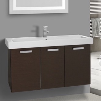 39 Inch Wenge Wall Mount Bathroom Vanity with Fitted Ceramic Sink ACF C518