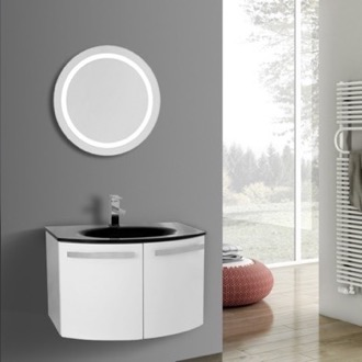 Bathroom Vanity 28 Inch Glossy White Bathroom Vanity with Black Glass Top, Lighted Mirror Included ACF CD43