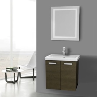 Bathroom Vanity 24 Inch Grey Oak Wall Mount Vanity with Fitted Ceramic Sink, Lighted Mirror Included ACF CP127