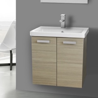 Bathroom Vanity 24 Inch Larch Canapa Wall Mount Vanity with Fitted Ceramic Sink ACF CP99