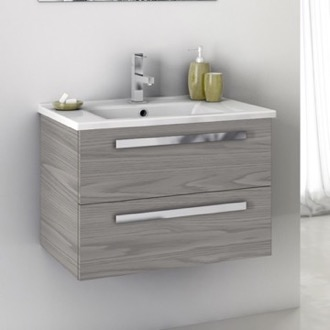 24 Inch Vanity Cabinet With Fitted Sink ACF DA04-Grey Walnut