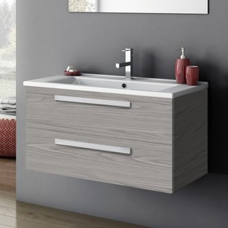 33 Inch Vanity Cabinet With Fitted Sink ACF DA05-Grey Walnut