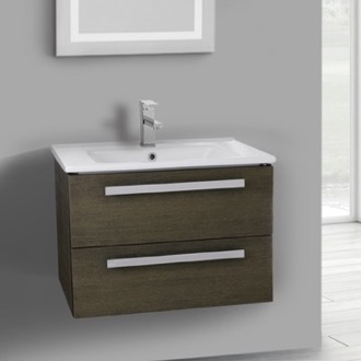 25 Inch Grey Oak Wall Mount Bathroom Vanity Set, 2 Drawers ACF DA26
