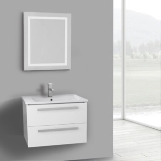 25 Inch Glossy White Wall Mount Bathroom Vanity Set, 2 Drawers, Lighted Mirror Included ACF DA68