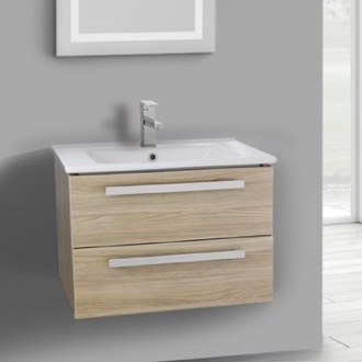 25 Inch Style Oak Wall Mount Bathroom Vanity Set, 2 Drawers ACF DA24
