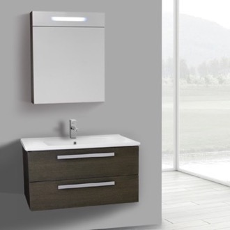 Bathroom Vanity 33 Inch Grey Oak Wall Mount Bathroom Vanity Set, 2 Drawers, Lighted Medicine Cabinet Included ACF DA279