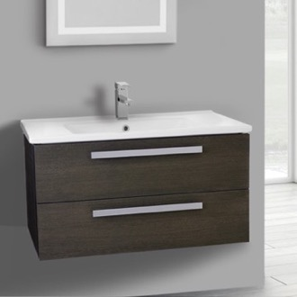 33 Inch Grey Oak Wall Mount Bathroom Vanity Set, 2 Drawers ACF DA29