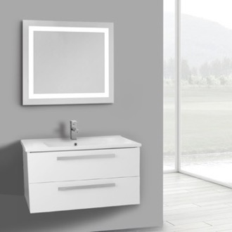 Bathroom Vanity 33 Inch Glossy White Wall Mount Bathroom Vanity Set, 2 Drawers, Lighted Mirror Included ACF DA93