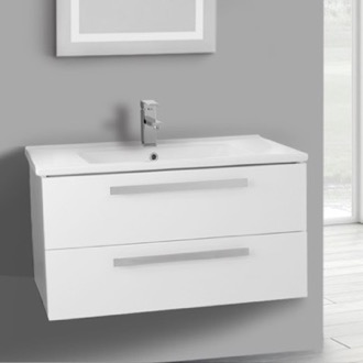Bathroom Vanity 33 Inch Glossy White Wall Mount Bathroom Vanity Set, 2 Drawers ACF DA28
