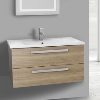 33 Inch Style Oak Wall Mount Bathroom Vanity Set, 2 Drawers ACF DA27