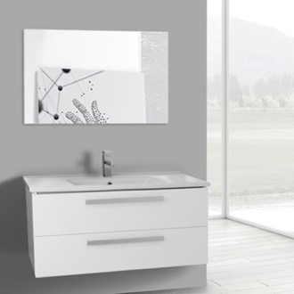 Bathroom Vanity 38 Inch Glossy White Wall Mount Bathroom Vanity Set, 2 Drawers, Mirror Included ACF DA112