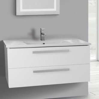 Bathroom Vanity 38 Inch Glossy White Wall Mount Bathroom Vanity Set, 2 Drawers ACF DA31