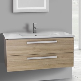 38 Inch Style Oak Wall Mount Bathroom Vanity Set, 2 Drawers ACF DA30