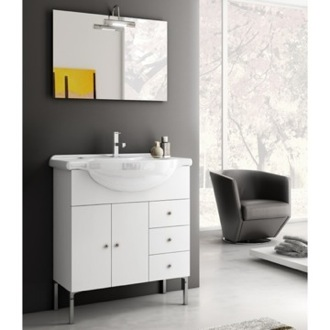 32 Inch Glossy White Bathroom Vanity Set ACF LON01