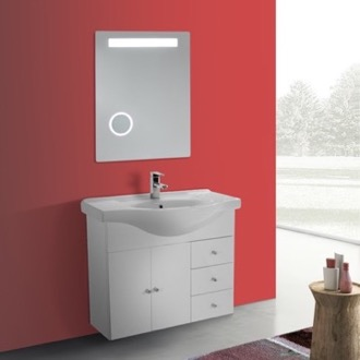 Bathroom Vanity 32 Inch Glossy White Wall Mounted Bathroom Vanity Set, Curved Sink, Lighted Mirror Included ACF LON19