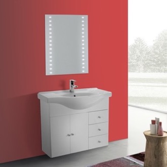 Bathroom Vanity 32 Inch Glossy White Wall Mounted Bathroom Vanity Set, Curved Sink, Lighted Mirror Included ACF LON20