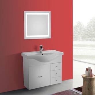 Bathroom Vanity 32 Inch Glossy White Wall Mounted Bathroom Vanity Set, Curved Sink, Lighted Mirror Included ACF LON23