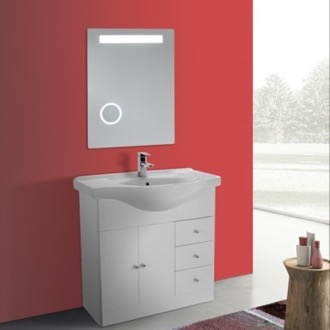 Bathroom Vanity 32 Inch Glossy White Floor Standing Bathroom Vanity Set, Curved Sink, Lighted Mirror Included ACF LON26