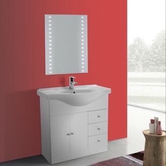 Bathroom Vanity 32 Inch Glossy White Floor Standing Bathroom Vanity Set, Curved Sink, Lighted Mirror Included ACF LON27