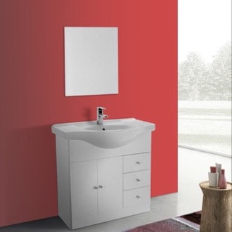 Bathroom Vanity 32 Inch Glossy White Floor Standing Bathroom Vanity Set, Curved Sink, Mirror Included ACF LON28
