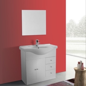 Bathroom Vanity 32 Inch Glossy White Floor Standing Bathroom Vanity Set, Curved Sink, Mirror Included ACF LON29