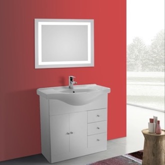 Bathroom Vanity 32 Inch Glossy White Floor Standing Bathroom Vanity Set, Curved Sink, Lighted Mirror Included ACF LON31