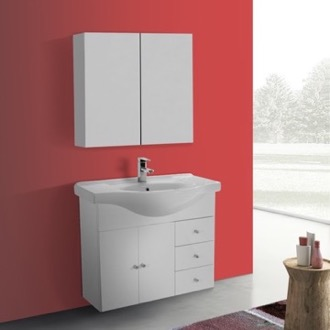 Bathroom Vanity 32 Inch Glossy White Wall Mounted Bathroom Vanity Set, Curved Sink, Medicine Cabinet Included ACF LON63