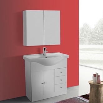 Bathroom Vanity 32 Inch Glossy White Floor Standing Bathroom Vanity Set, Curved Sink, Medicine Cabinet Included ACF LON72