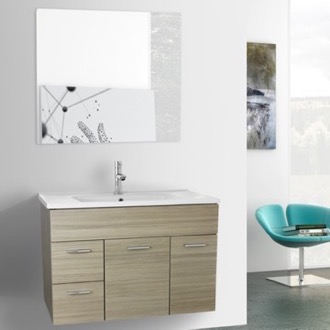 Bathroom Vanity 33 Inch Larch Canapa Bathroom Vanity Set, Wall Mounted,  Mirror Included ACF