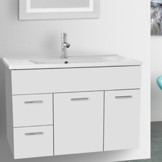 33 Inch Glossy White Bathroom Vanity Set ACF LOR57