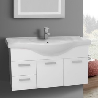 Bathroom Vanity 39 Inch Wall Mount Glossy White Bathroom Vanity Set ACF PH51
