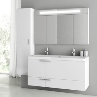 47 Inch Glossy White Bathroom Vanity Set ACF ANS217