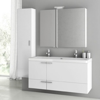 47 Inch Glossy White Bathroom Vanity Set ACF ANS218