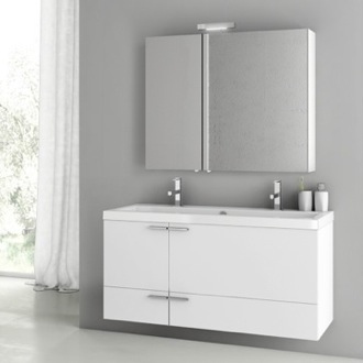 47 Inch Glossy White Bathroom Vanity Set ACF ANS216