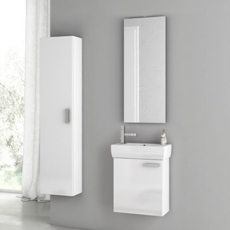 18 Inch Glossy White Bathroom Vanity Set ACF C28