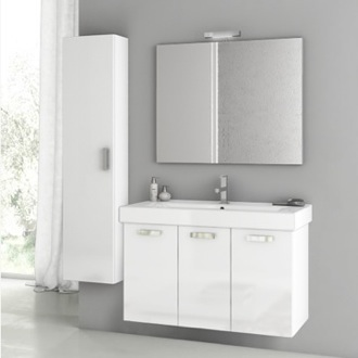 39 Inch Glossy White Bathroom Vanity Set ACF C49